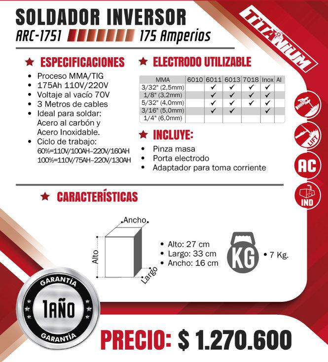 SOLDADOR INVERSOR PROCESO MMA-TIG 175 AM