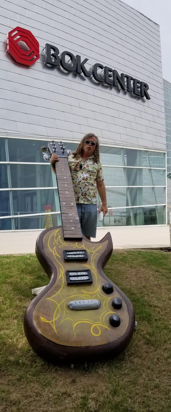 Guitar outside BOK center in Tulsa before Willie Nelson Concert