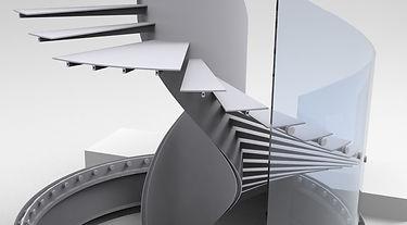 Usazení a kotvení nosných skel do stupňů, včetně jejich požadovaného dělení mezi stupni.