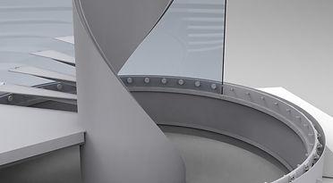 Detail CAD prostorových dat získaných reverzním inženýrstvím včetně přesně zaměřených pozic kotvicích trnů, které již ocelová konstrukce měla. Na obrázku usazena poslední dvě skla.