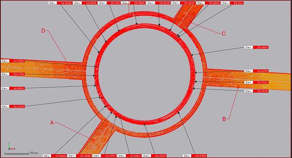 Rozměrová analýza a deformace ocelové konstrukce 5NP.