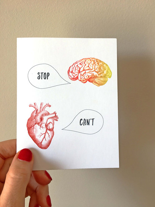 heart vrs brain art card