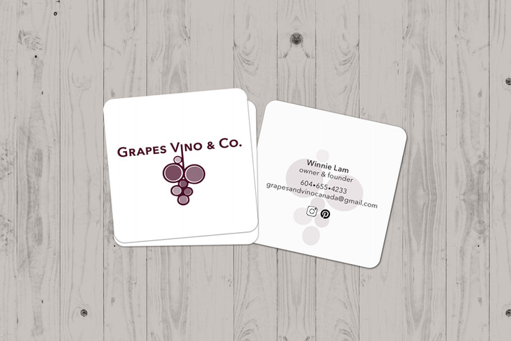 Grapes Vino & Co. logo and business cards