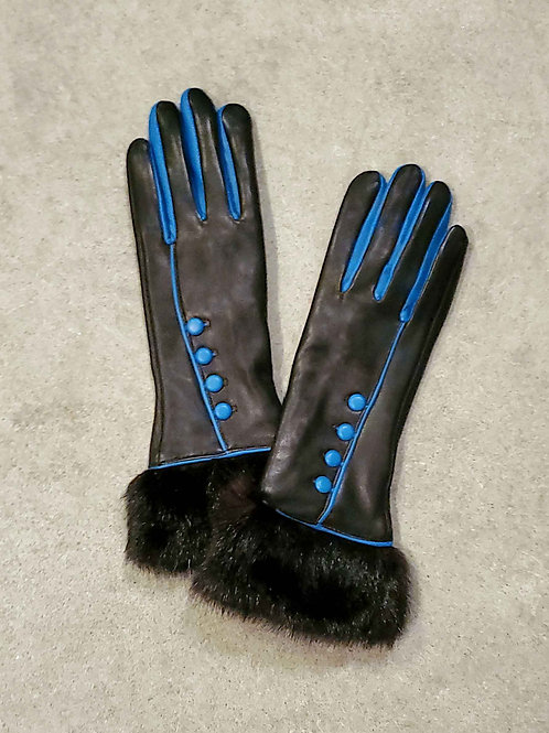 Elegant Leather Gloves with Upcycled Mink Cuff - Blue