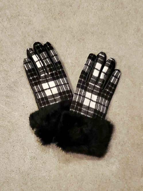 Leather Glove with Plaid Trim & Upcycled Fur Cuff
