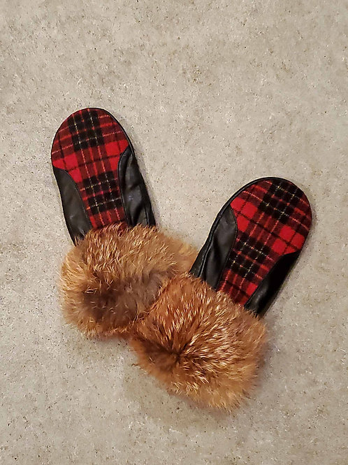 Leather Mitten with Plaid trim & Upcycled Fox Fur Cuff