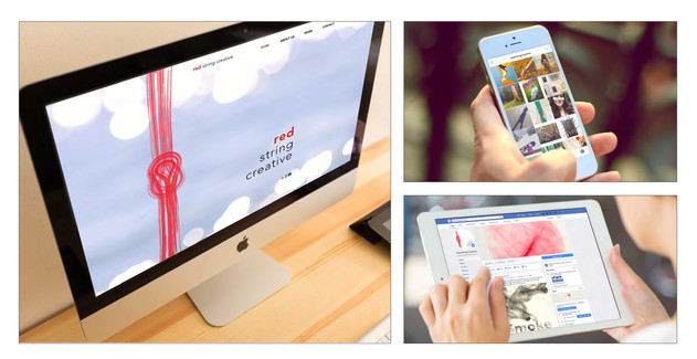 red string creative branding, web design and social media pages