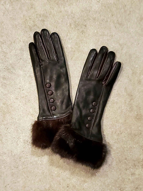 Elegant Leather Gloves with Upcycled Mink Cuff - Dark Plum
