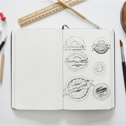 Ironwood thumbnail sketches for logo design