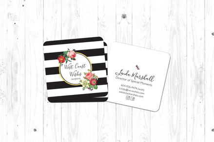 West Coast Wishes Wedding Planners logo and business cards