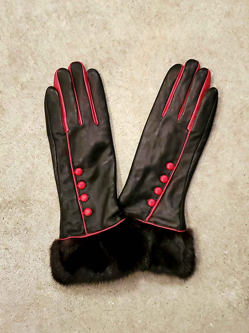 Elegant Leather Gloves with Upcycled Mink Cuff - Red