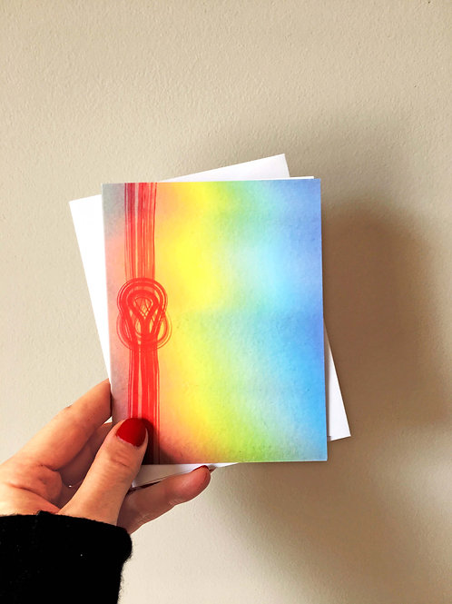 red string rainbow reflection art card