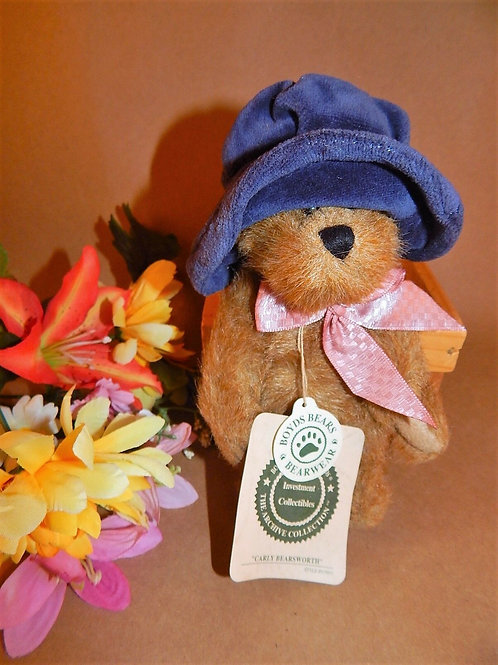 boyds, boyds bear, carly, small  bear, girl bear, stuffed plush animal, carly bearsworth, 919801, retired boyds bear, gift fo