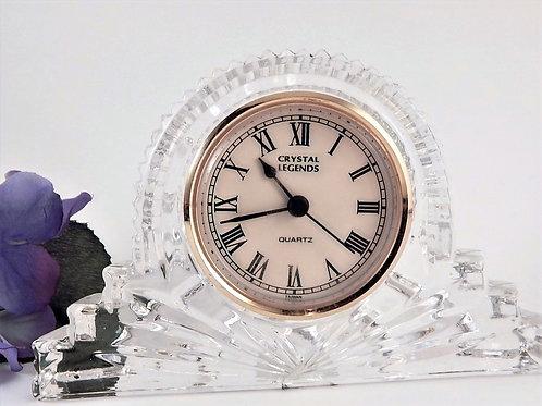Elegant Godinger 24% Lead Crystal tabletop clock Crystal Legends desk, mantle or bedside clock by Godinger Gorgeous art deco