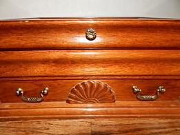 Jewelry Box Oak Wood Vintage 1980s