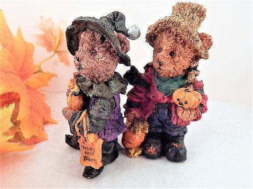Set of Two Cold Cast Resin Halloween Figurine Bears Trick or Treat Witch and Hobo Costume Fall Decorations