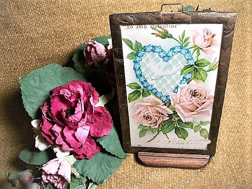 Valentine's Day Postcard Antique 1906 Glass Covered Metal Frame Picture with Stand Paper Ephemera Home Decoration Romantic Ke