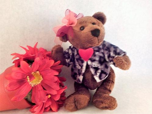 toy, stuffed animal, teddy bear, girl, dandee, valentines day, dressed bear, 6 Inch bear, collectible, brown bear