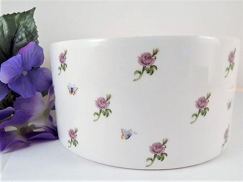 Flower Vase Shallow Bowl Boudoir Trinket Dish Vintage 1980s Porcelain Teleflora Lavender Rose  Butterfly Transfers Porcelain