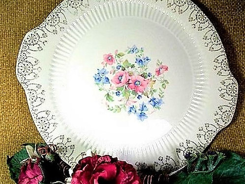Royal China Sebring Cake Plate Serving Platter Tableware Fine China Pink Blue Flowers 22K Gold Trim Replacement Dish