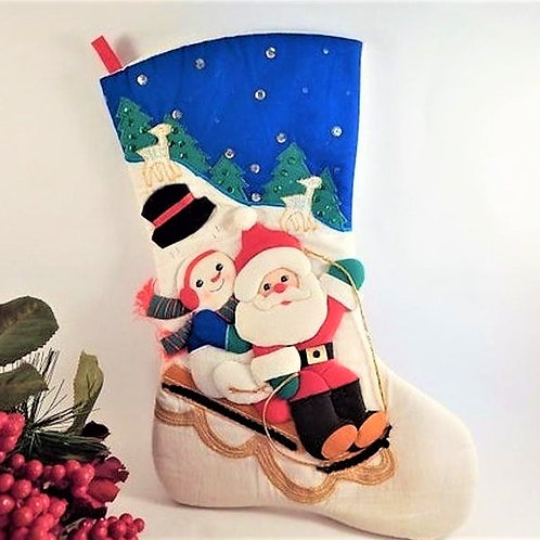 Stocking Santa Claus Snowman Sled Red White and Blue Embellished Fabric Childrens Stocking Christmas Decoration