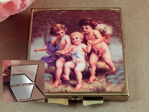 Compact Pocket Mirror Renaissance Baby Angels  Purse Accessory Vintage 1960s