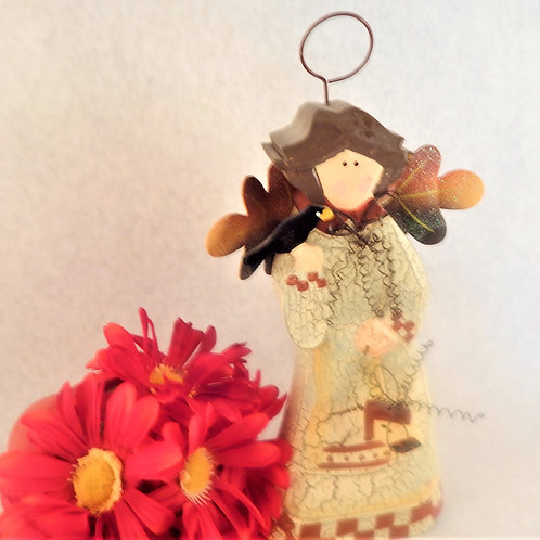 Angel Figurine Carved Wood Folk Art Fall Thanksgiving Home Decor Autumn Angel Gift