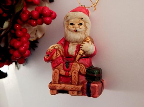 vintage home decor, ornament figurine, santa claus, toy shop work shop, toymaker santa, red white decor, rustic old world