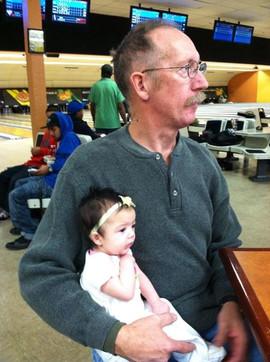 Grandpa Mike and Melanie take their bowl
