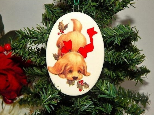 Puppy Dog Christmas Tree Ornament Blond Cocker Spaniel Puppy Oval White Porcelain Vintage Holiday Home Decor