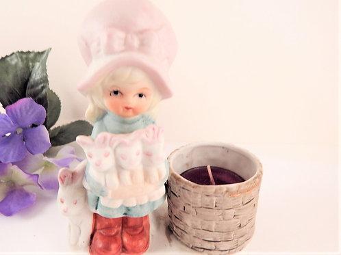 Candle Holder Prairie Girl Spring Rabbits Easter Bunnies Little Luvkins Figurine Vintage 1979 Jasco Porcelain Home Decor