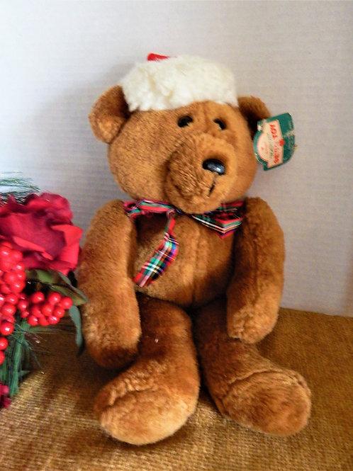 Photograph of a vintage 1984 Hallmark Sewn Toy Beau Bear Christmas Bear Stuffed Plush Animal from A Vintage Addiction
