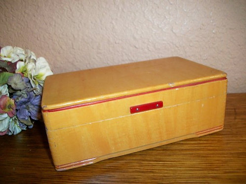 vintage, home storage, jewelry box, unisex mens womens, blond wood, red lined lining, trinket box, jewelry chest,mirrored box