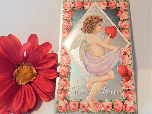 Postcard Antique Valentines Day Silver Embossed Cupid Pink Rose Unposted Vintage 1900s Ephemera Made in Germany