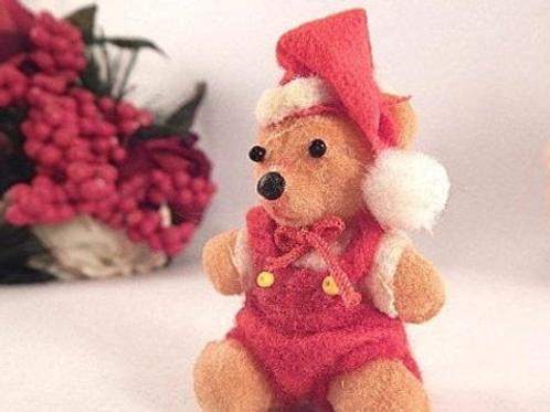 Santa Bear Pick Flocked Plastic Vintage 1960s Retro Christmas