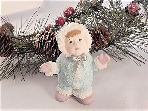 "Snowsuit Girl Ornament 3"" White and Blue Cold Cast Resin Figurine Christmas Decor"
