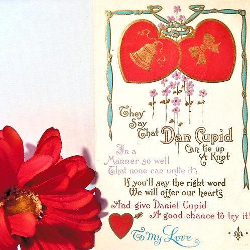 Antique Valentines Day Postcard Dan Cupin Proposal Poem 1900s Ephemera