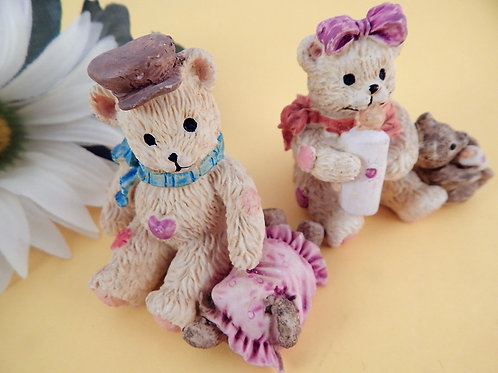 vintage, figurine, home decor, bear, girl bear, boy bear, bear family, girls room decor, friendship gift, bear collector, cas