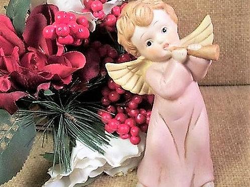 Angel Figurine Vintage 1950s Pink and Gold Porcelain Bisque