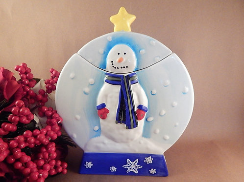 Christmas Cookie Jar Snowman Snow Globe Hand Painted Ceramic Storage Container Winter Holiday Treat Jar
