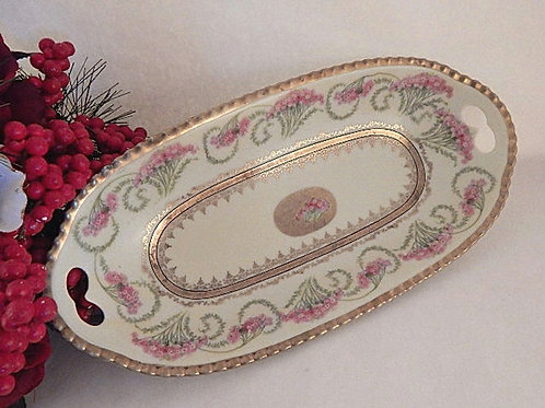 vintage, bowl, serving dish, what is, porcelain, fine china, bavaria, bread tray, loaf dish, vanity table tray, antique, orna