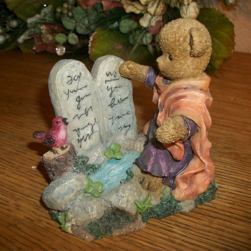 Brown Resin Bear Figurine Berry Hills Bear Famous Bible Stories Bear The scene depicts Moses and The Ten Commandments