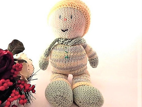 Snowman Baby Doll Hand Knit Bunting Doll Vintage Fiber Filled Baby Toddler Toy