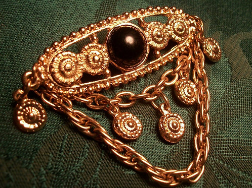 Medallion Chain Brooch Vintage 1980s Edwardian Style Womens Jewelry Gold Metal Chatelaine Bar Pin with Brown Cabochon