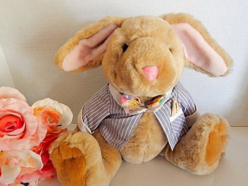 "Rabbit Stuffed Animal 11"" Jointed Boy Bunny Smooth Beige Plush Easter Toy The Bialosky Treasury Vintage 1996 Home Decor"