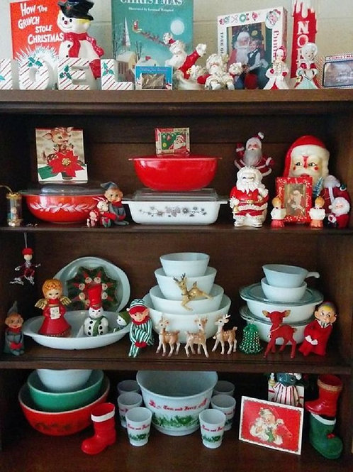A picture of vintage Christmas home decor, collectbles, dishes, figurines and decorations from A Vintage Addiction