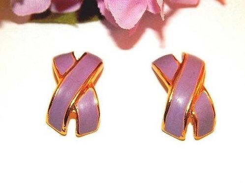 vintage jewelry, earrings, pierced ears, post earrings, enamel earrings, purple violet, lavender, orchid accessory, geometric