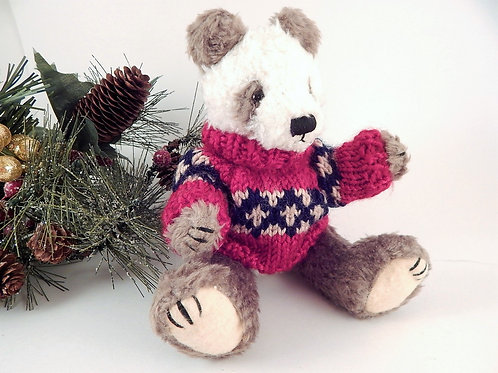 christmas bear, winter bear, collectible, christmas in july, brown  bear,jointed bear, hugfun, panda, brown white panda, vint