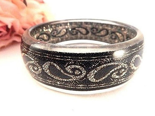 jewelry, womens, bracelet, bangle, black, gold, art deco, evening, bling, lucite, black jewelry, gold jewelry,