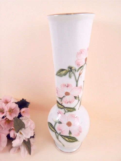 "Beautiful porcelain bud vase by Lefton Vintage 1960s home decor 7"" h  with 1 1/2"" opening Applied pink floral design,"